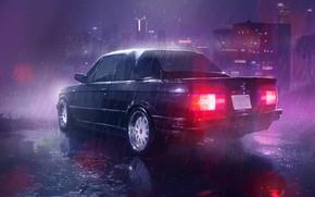 Picture Black, Night, The city, BMW, Rain, BMW, E30, The shower, E30, BMW E30
