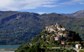 Picture landscape, mountains, France, home, La Roquette-sur-var