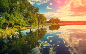 Picture The sky, Nature, Clouds, Reflection, Trees, River, Landscape
