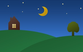 Picture Tree, Night, Stars, The moon, House, Abstraction, 2D