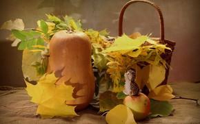 Picture autumn, leaves, table, basket, Apple, pumpkin, still life, burlap, yellow, hedgehog