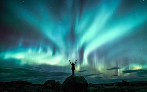 Picture the sky, girl, stars, night, rocks, people, Northern lights