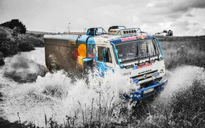 Picture The sky, Water, Nature, Sport, Speed, Truck, Race, Master, Squirt, Beauty, Russia, Beast, Kamaz, Rally, …