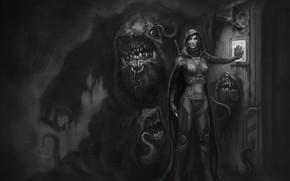 Wallpaper the gatekeeper, monster, sword, art, smile, the door, guard, cloak