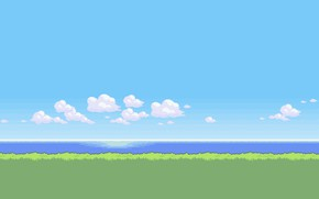 Picture The sky, Clouds, Sea, Art, Graphics, Pixels, 8bit, PXL