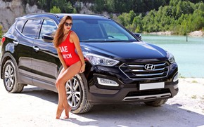 Picture swimsuit, summer, girl, SUV, Hyundai, sand.