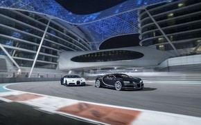 Picture Bugatti, Black, White, Abu Dhabi, UAE, VAG, Yas Marina Circuit, Chiron, F1 Track