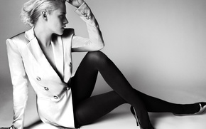 Picture pose, photo, background, model, makeup, figure, actress, hairstyle, blonde, shoes, black and white, tights, jacket, ...
