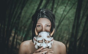Picture forest, look, face, mask
