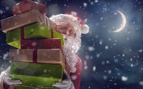 Wallpaper winter, Christmas, night, santa claus, gifts, snow, merry christmas, New Year