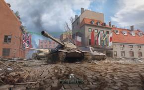 Picture building, tank, flags, bridge, World of Tanks