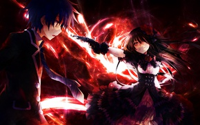 Picture girl, weapons, anime, art, guy, Date a Live