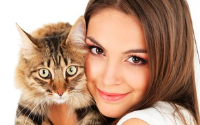 Picture cat, look, girl, face, smile, makeup, muzzle, hairstyle, white background, brown hair