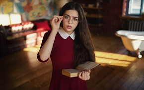 Picture look, girl, glasses, book, long hair, Sergey Fat, Sergey Zhirnov, Maya Shakhnazarov