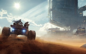 Picture the city, fiction, transport, desert, tower, Rover, Bounty Hunters