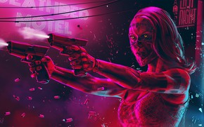 Picture Girl, Figure, Neon, Sleeve, Fiction, Cyborg, Guns, Cyber, Deathbed hotel