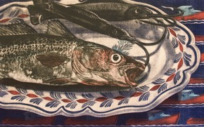Picture fish, plate, Kath Rutherford, Mezzotint, Lunch on the hook