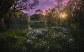 Picture flowers, nature, river, castle, spring, Croatia, Karlovac, The Castle of Ozalj