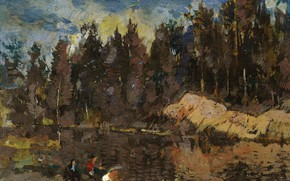 Picture landscape, picture, Konstantin Korovin, On The Lake