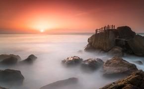 Picture sea, sunset, fog, shore