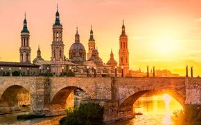Picture the sun, bridge, river, Cathedral, Spain, Zaragoza
