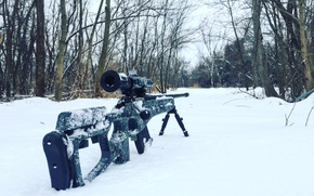 Wallpaper snow, optics, sniper rifle