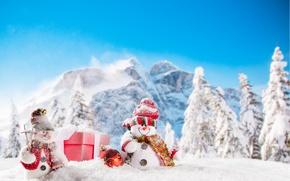 Wallpaper New Year, Christmas, snowmen, winter, snow, merry christmas, snowman
