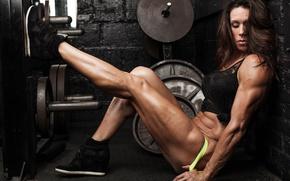 Picture legs, power, pose, female, bodybuilder