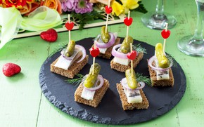 Picture cucumber, bread, appetizer, canapés, herring