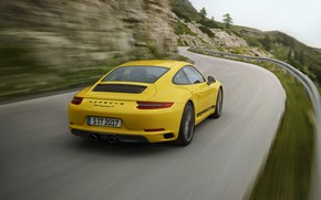 Picture road, yellow, movement, blur, Porsche, the fence, 2018, 911 Carrera T, 370 HP