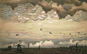 Picture 1920, Charles Ephraim Burchfield, legionarism, Birds over Field