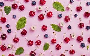 Picture summer, letters, berries, blueberries, cherry