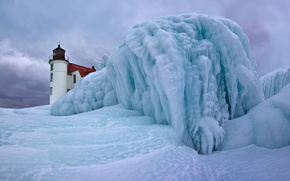 Picture ice, winter, lighthouse, USA, Betsy, lake Michigan