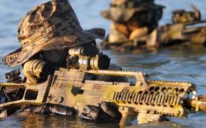 Picture water, weapons, fighters, Bundeswehr, Kommando