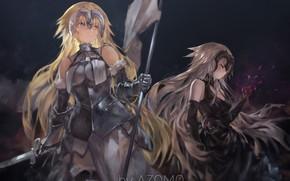 Picture sword, armor, anime, ken, flag, warrior, manga, bishojo, japonese, balde, Fate Apocrypha, Type Moon