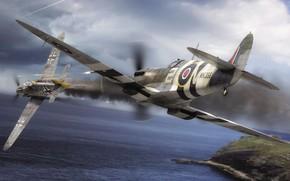 Wallpaper Air force, WW2, Spitfire F.Mk.IX, Bf.109G-6, Dogfight, Messerschmitt, Royal Air Force, Painting