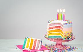 Wallpaper cake, birthday, cake, candles, colorful, celebration, decoration, Happy Birthday