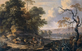 Picture oil, picture, canvas, Ian Vanants, Landscape with a Rider on a Donkey
