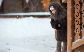 Picture girl, look, shawl, alertness, winter