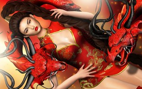 Picture girl, style, dragons, figure