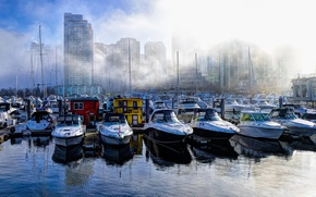 Picture fog, home, boats, harbour