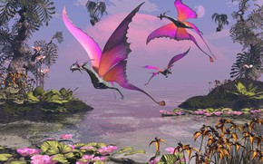 Picture vegetation, planet, creatures, pond, Dragon Butterfly