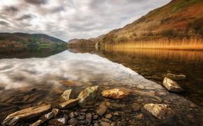 Picture lake, stones, Wales, Snowdonia, Llyn Gwynant