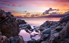 Picture sunset, the ocean, rocks, coast, Hawaii, Maui