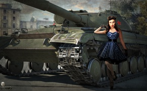 Wallpaper tank, girl, figure, World of Tanks, Soviet, average, art, Nikita Bolyakov, Object 430