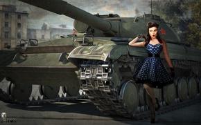 Wallpaper girl, figure, art, tank, Soviet, average, World of Tanks, Object 430, Nikita Bolyakov