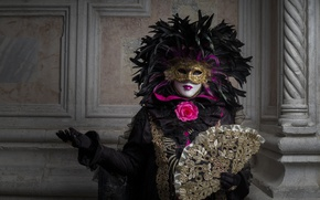 Picture mask, fan, Venice, carnival