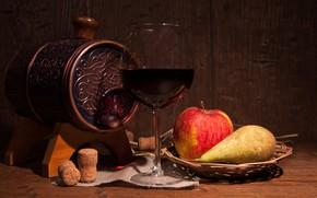 Picture wine, glass, Apple, vase, pear, tube, fruit, barrel