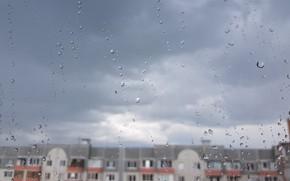Picture glass, drops, the city, rain, Tyumen
