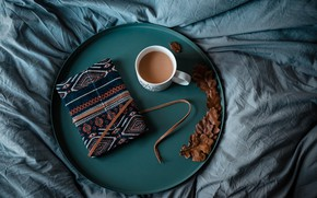 Picture diary, blacknot, the nap, nawotka, diary, bed, coffee, book, tray, coffee, notebook, bed, book, tray